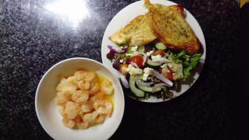 Homemade prawns & salad