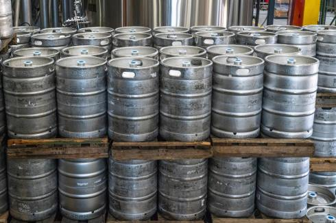 Commercial beer kegs