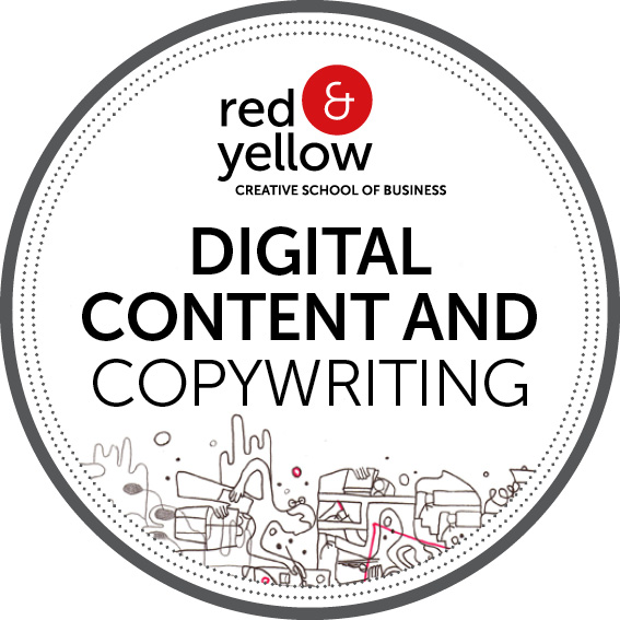 Red & Yellow Digital Badge - Digital Content and Copywriting accreditation