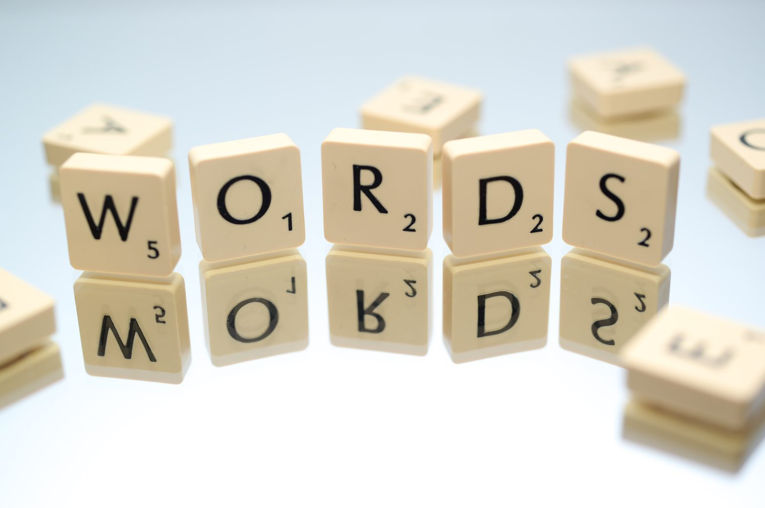 Scrabble tiles spelling the word WORDS
