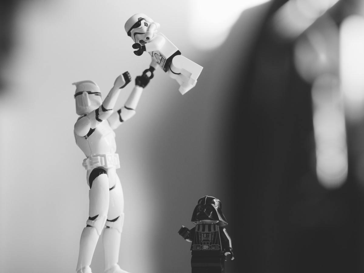 Lego storm trooper and Darth Vader