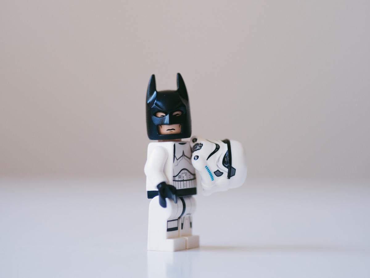 Lego storm trooper wearing batman mask